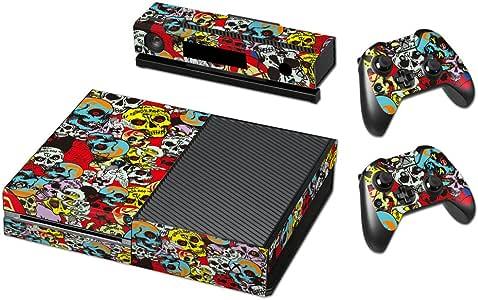 Pandaren® completos placas frontales Pegatinas de la piel para la consola Xbox One x 1 y el mando x 2 y kinect x 1(cráneos de dibujos animados): Amazon.es: Videojuegos