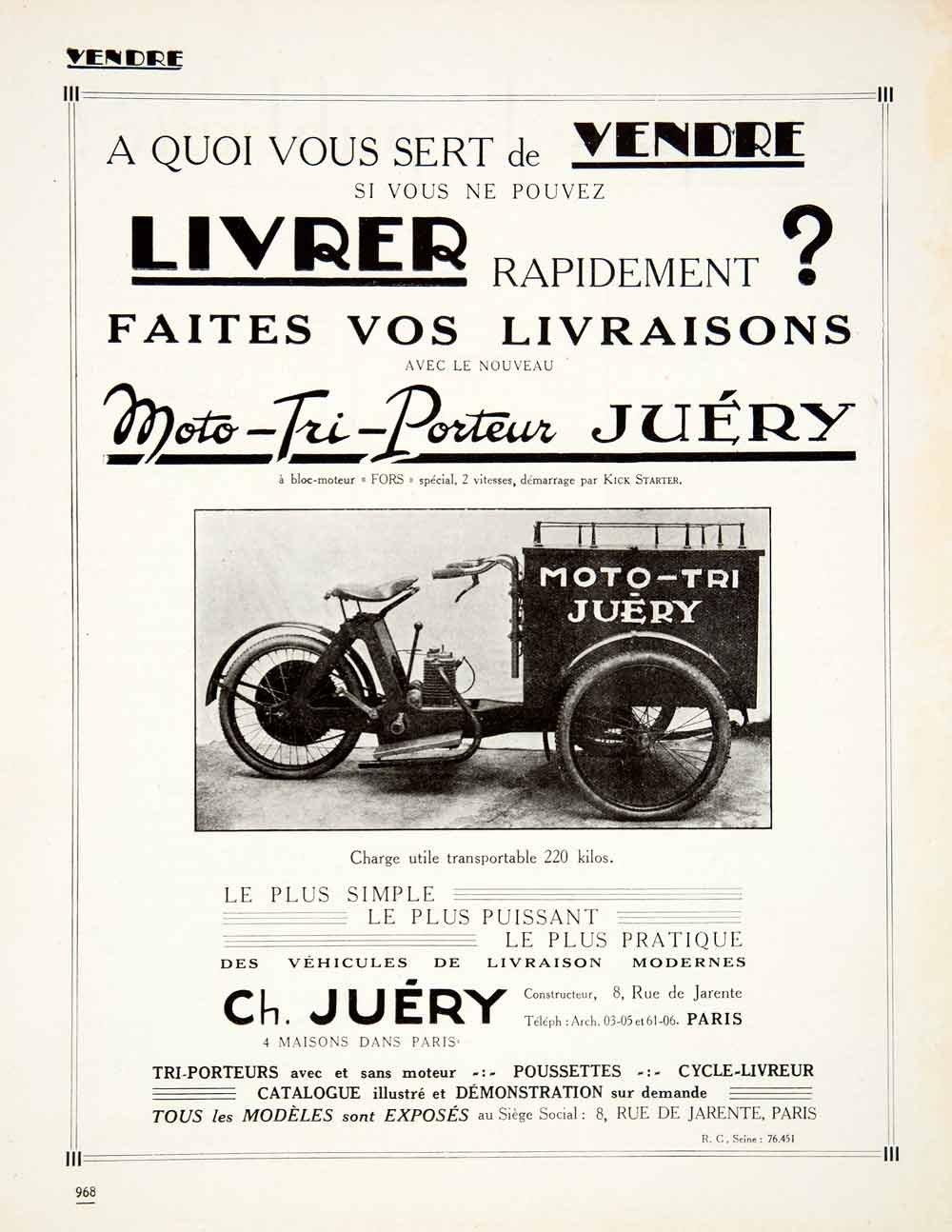 1924 Ad Juery Moto Tri Juery 8 Rue De Jarente Paris Tricycle