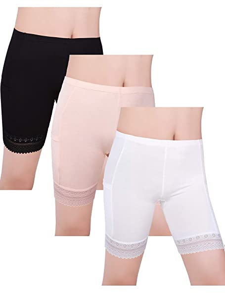 969f2efca2b Blulu 3 Pieces Safety Pants Lace Yoga Shorts Stretch Underwear with Pockets  for Women and Girls