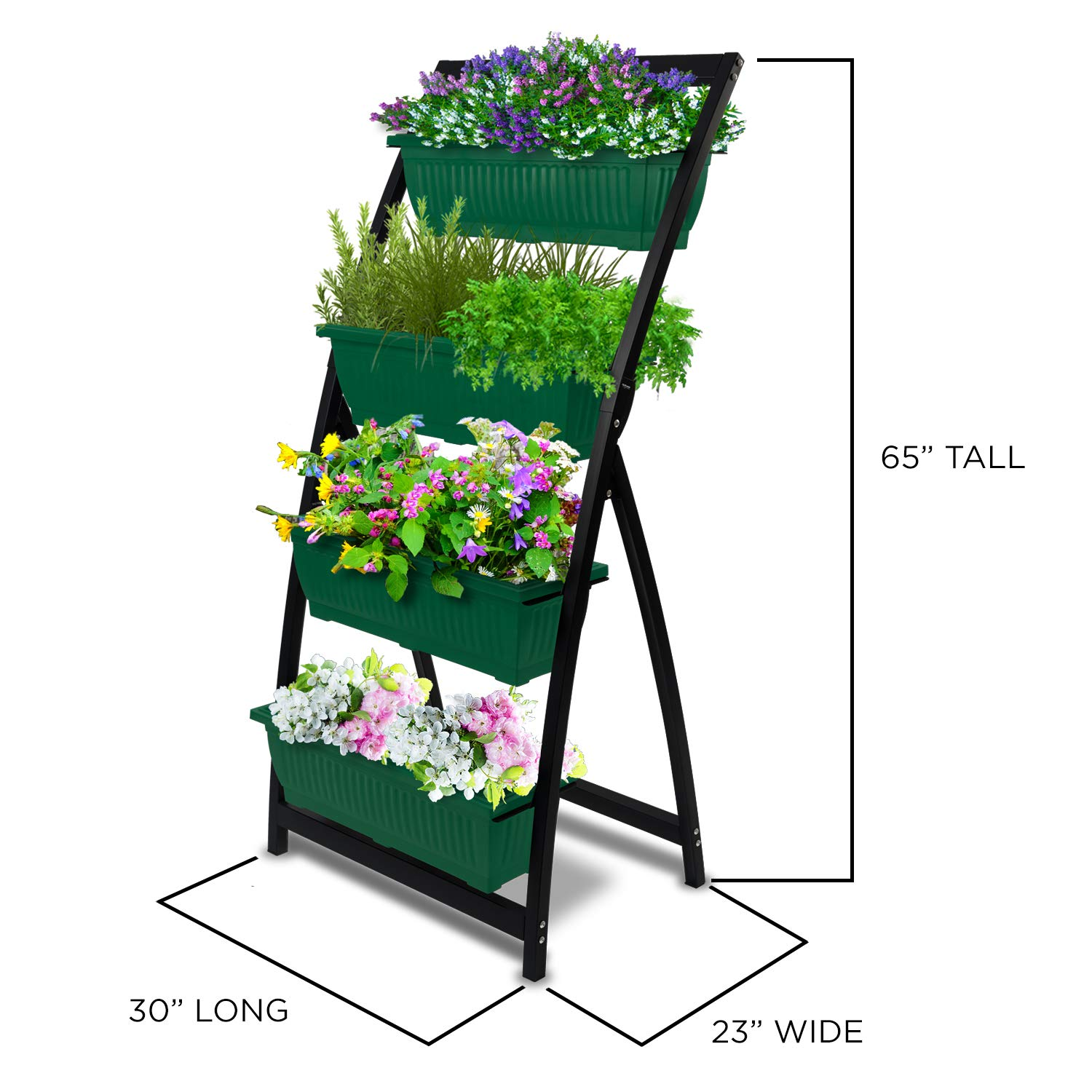 6-Ft Raised Garden Bed - Vertical Garden Freestanding Elevated Planter with 4 Container Boxes - Good for Patio or Balcony Indoor and Outdoor - Cascading Water Drainage (1-Pack/Forest Green) by Outland Living (Image #6)
