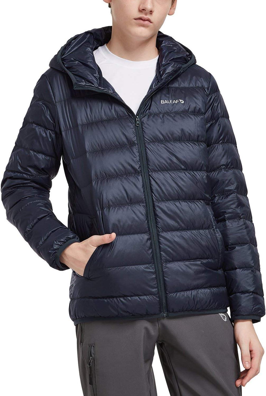 BALEAF Boys Lightweight Packable Hooded Down Jacket Outdoor Windproof Winter Coat