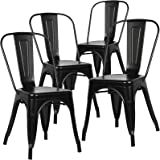 Poly and Bark Tolix Style Bistro A Dining Side Chair (Set of 4), Black