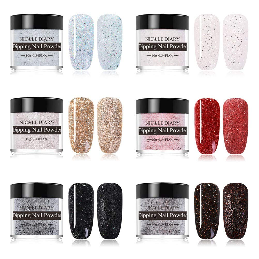 NICOLE DIARY Dipping Nail Powder Kit 10g Dip Nails Shining Glitter Dipping System Nail Art Decoration(6 Colors/set) by NICOLE DIARY