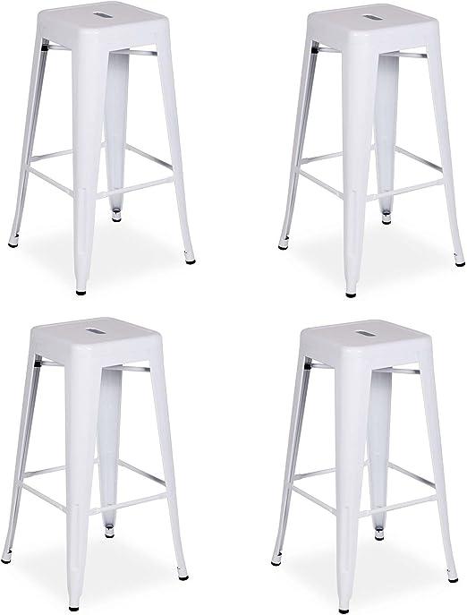 La Silla Española - Pack 4 Taburetes estilo Tolix. Color Blanco. 76x43x43: Amazon.es: Hogar