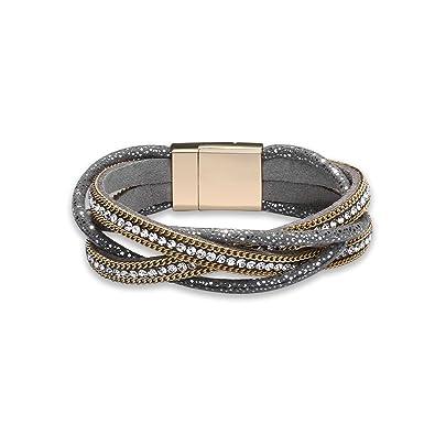 AMDXD Jewelry Women Leather Bracelet Row Cubic Zirconia Square Vintage 20CM Punk Leather Bracelet qTnHZRmJ7