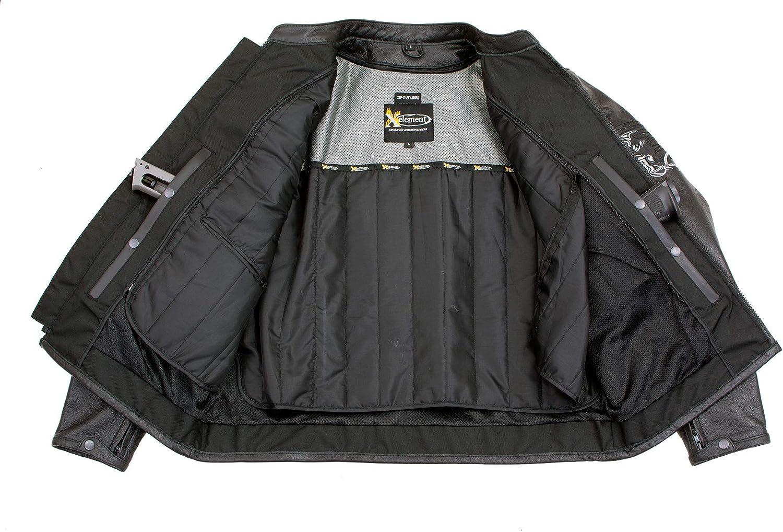 Xelement B95010 Mens Bones Black Armored Cruiser Motorcycle Jacket with Reflective Skulls