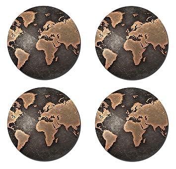 Caikem Posavasos redondo de corcho absorbente de mapa del mundo personalizable, accesorios para muebles de cocina (4 unidades): Amazon.es: Hogar