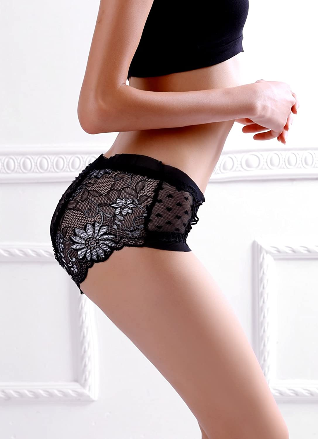 Sexy Jacquard Ruffles Sweet Heart Mesh Lace Panties Ladies Underwear