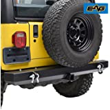 """EAG Classic Rear Bumper with 2"""" Hitch Receiver & D-Ring for 87-06 Jeep Wrangler YJ TJ"""