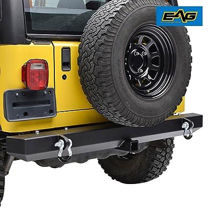 Amazon Com Eag 87 06 Jeep Wrangler Tj Yj Rear Bumper With 2 Hitch