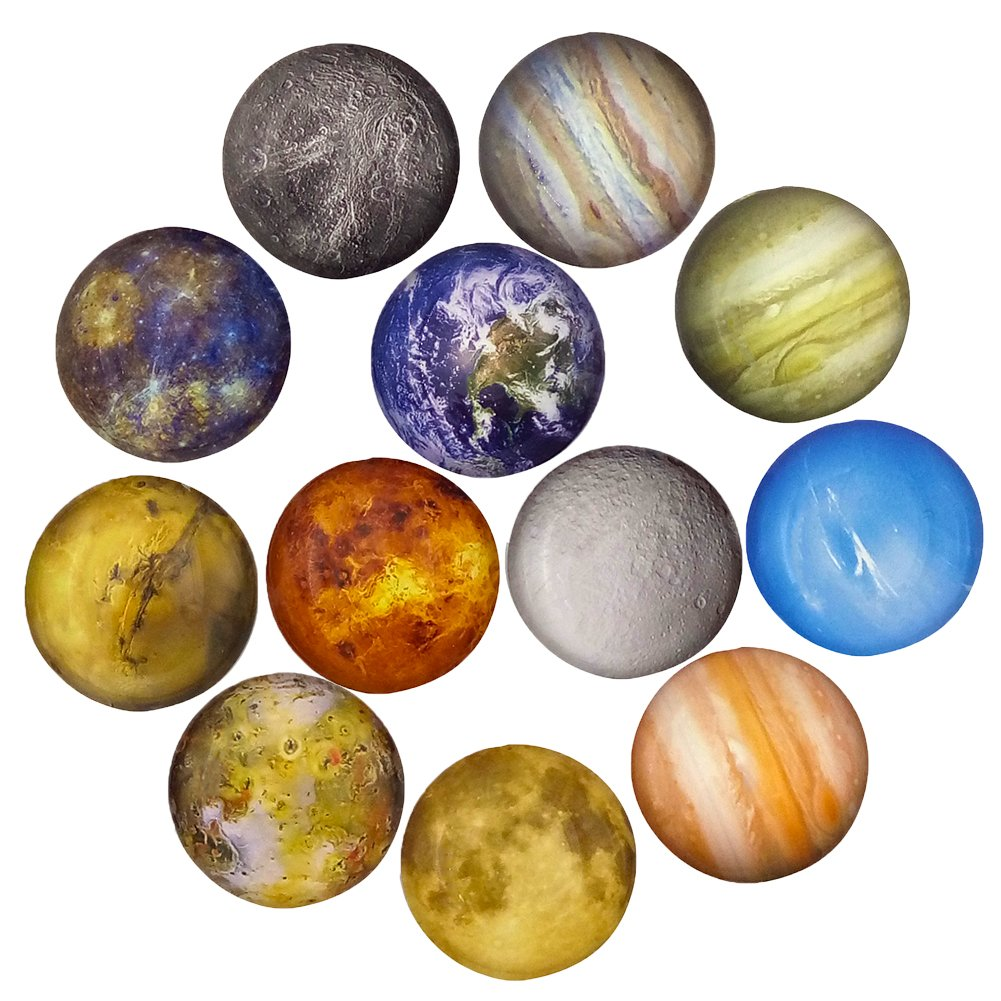 12 Planetary Series Fridge Magnets Beautiful Glass Creative Pushpins for Whiteboard Office Calendar Decorative Popular Home Wall Décor Set (12 Planetary)