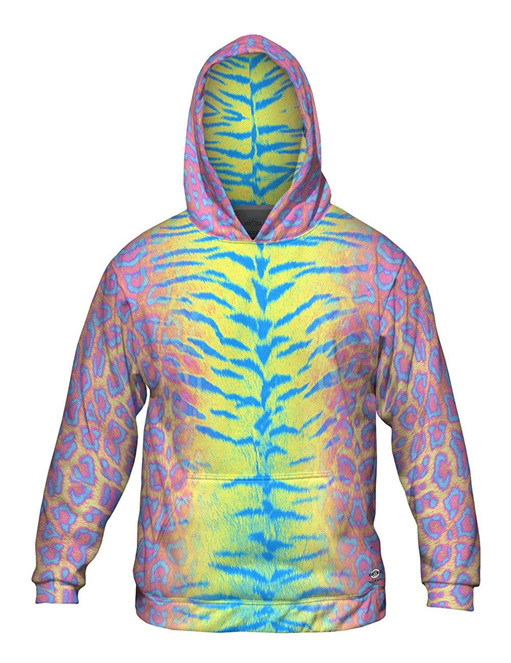 Tiger Leopard Skin Pink Yellow Blue Mens Hoodie Sweater Yizzam Allover Print