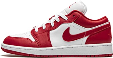 Amazon.com | Jordan Youth Air 1 Low (Gs) Gym Red/White 553560 611 ...