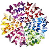 Mudder 6 Colors 3D Butterfly Removable Mural Stickers Wall Stickers Decal for Home and Room Decoration, 72 Pieces