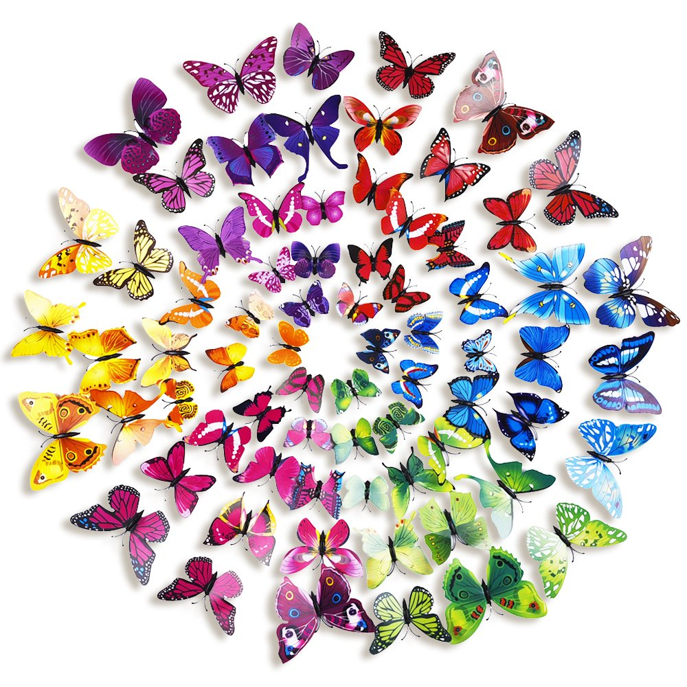 Amazon.com: Mudder 6 Colors 3D Butterfly Removable Mural Stickers Wall  Stickers Decal For Home And Room Decoration, 72 Pieces (Multicolor A): Home  U0026 Kitchen Part 65
