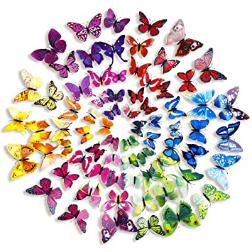 Mudder 6 Colors 3D Butterfly Removable Mural Stickers Wall Stickers Decal  For Home And Room Decoration Part 79