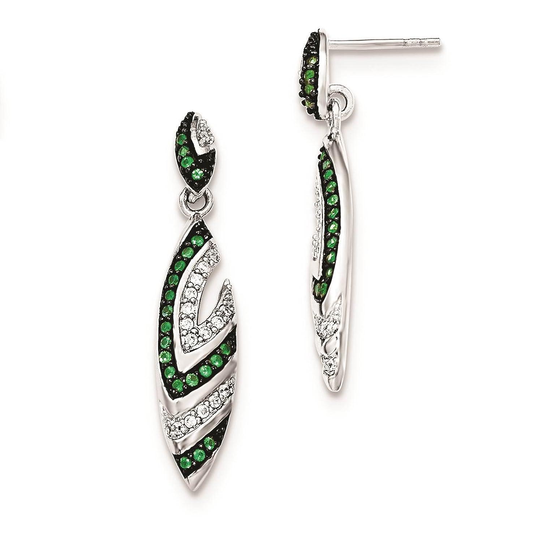 925 Sterling Silver w//Created-Spinel /& CZ Dangle Post Earrings