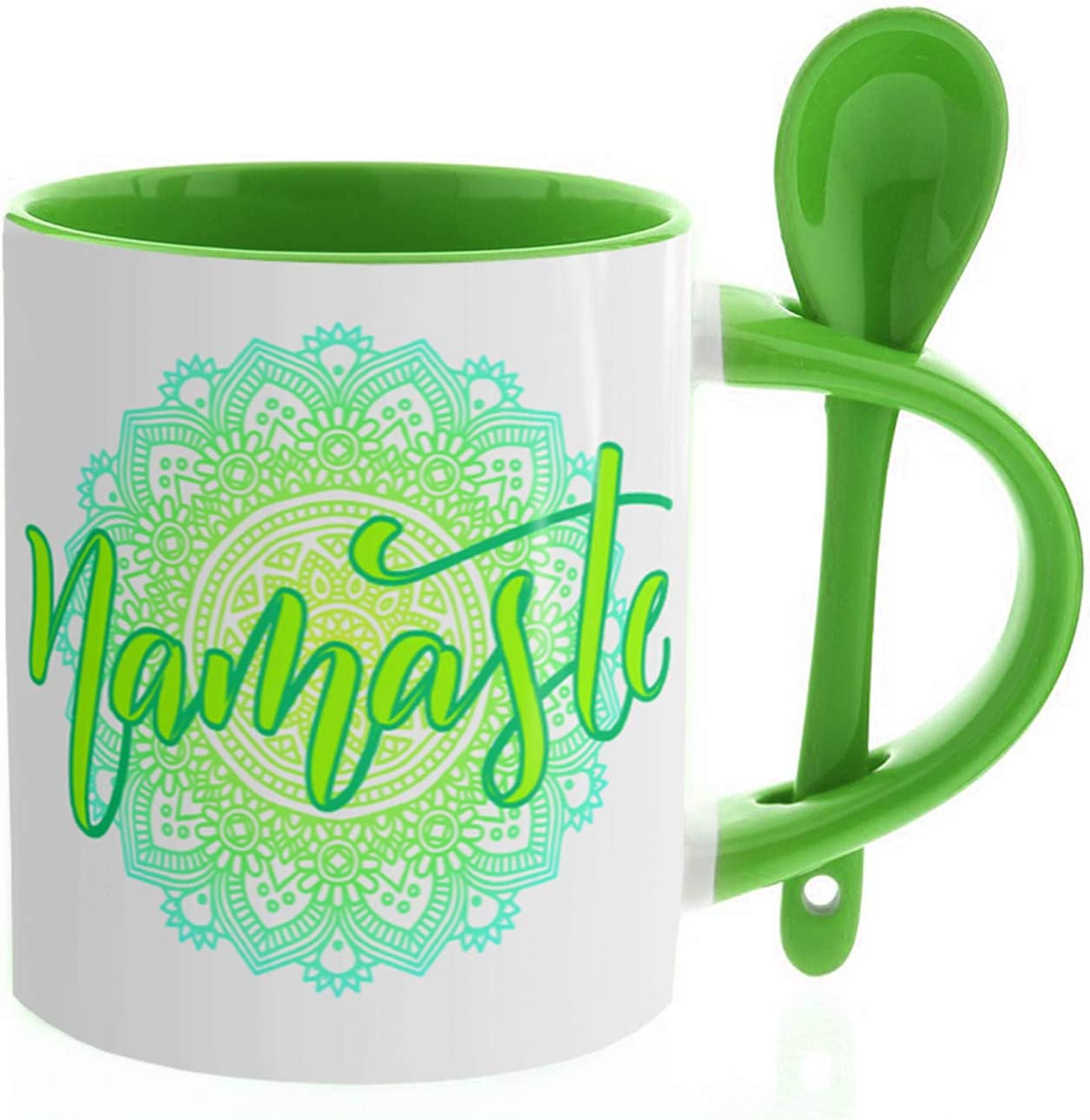 GS1 Honduras Kembilove Tazas de Desayuno Originales de Meditación – Tazas para Amantes del Yoga con Mándalas – Regalos Originales Zen con la Palabra Namaste en Color Verde