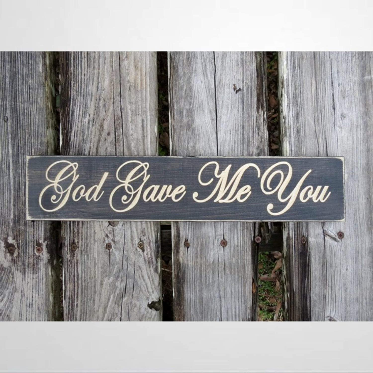 DONL9BAUER Wooden Plaque Sign, God Gave Me You Sign,Wedding Gift,Wood Sign, Wood Wall Decor Art, Farmhouse Rustic Mural Wood Pallet Perfect for Home Bar Office