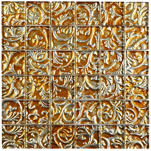 Champagne Gold Tile Flooring (SomerTile GFNEFQCH Etched Florencia Quad Champagne Glass Mosaic Wall Tile, 11.75