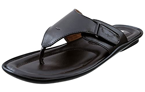 f22be3ebde4dd2 Marshal Men s Black Brown Genuine Leather Big Size Casual Chappal ...