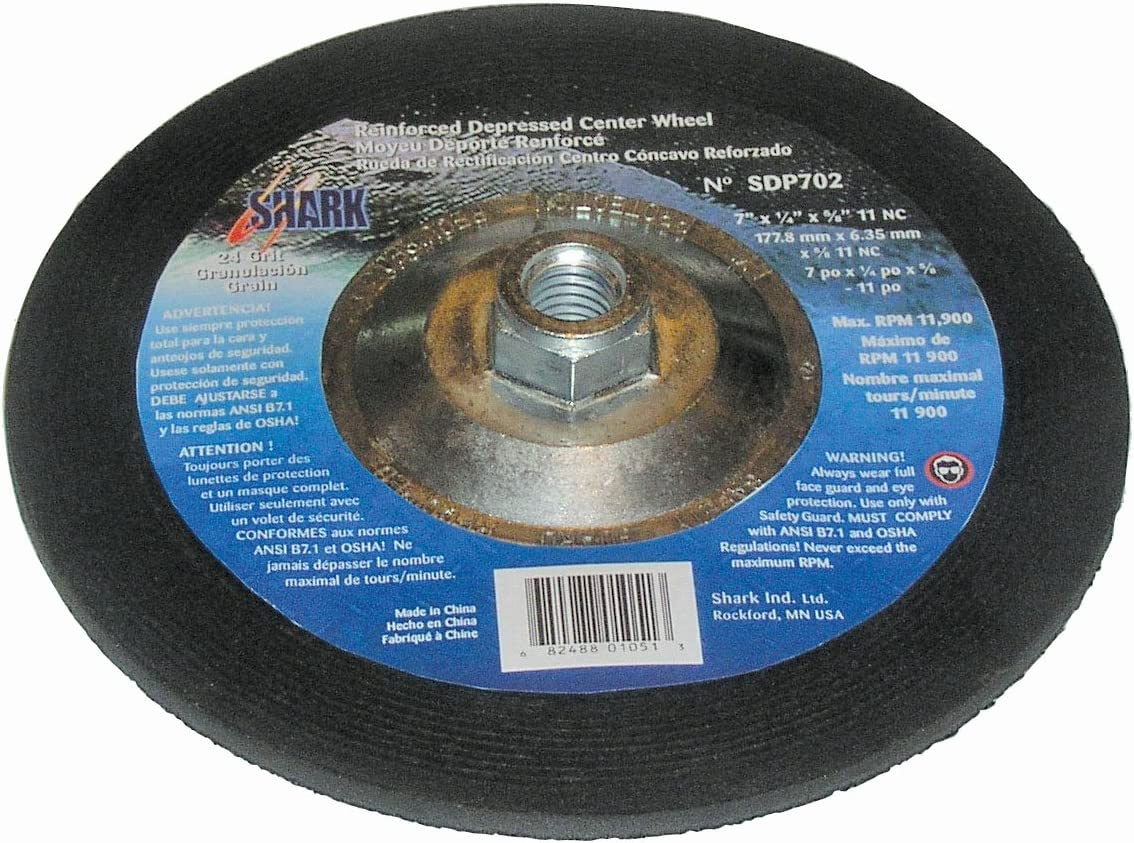 Shark 12643 7-Inch by 0.25-Inch by 5//8-11 Zirconia Depressed Center Wheel with Grit-24