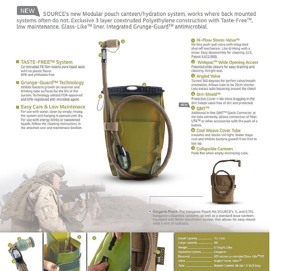 /Sistema de hidrataci/ón Bolsa Source Tactical Fuente t/áctico Canguro 1-Liter Plegable Canteen/