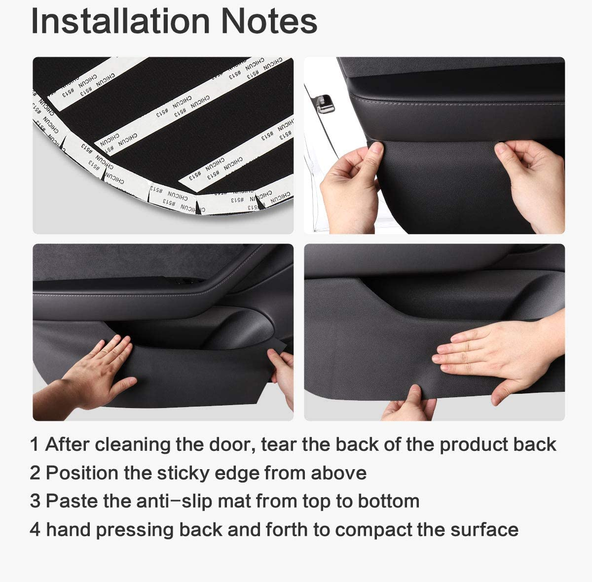 LUCKEASY for Tesla Model 3 2018-2020 Hide lnterior Anti Kick Pad Protection Side Edge Film Protector Stickers