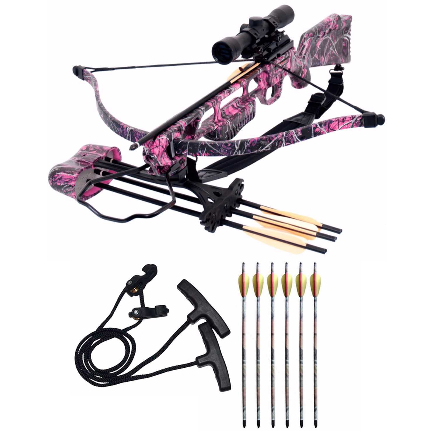 SA Sports Fever Muddy Girl Recurve Crossbow (Pink) w. Extra Bolts & Rope Cocking Device (Increases Accuracy)