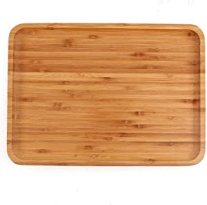 Bamboo Plates,2 Pack Cheese Plates Coffee Tea Serving Tray Fruit platters Party Dinner Plates Sour Candy Tray 13 x 9 x 0.8 inches