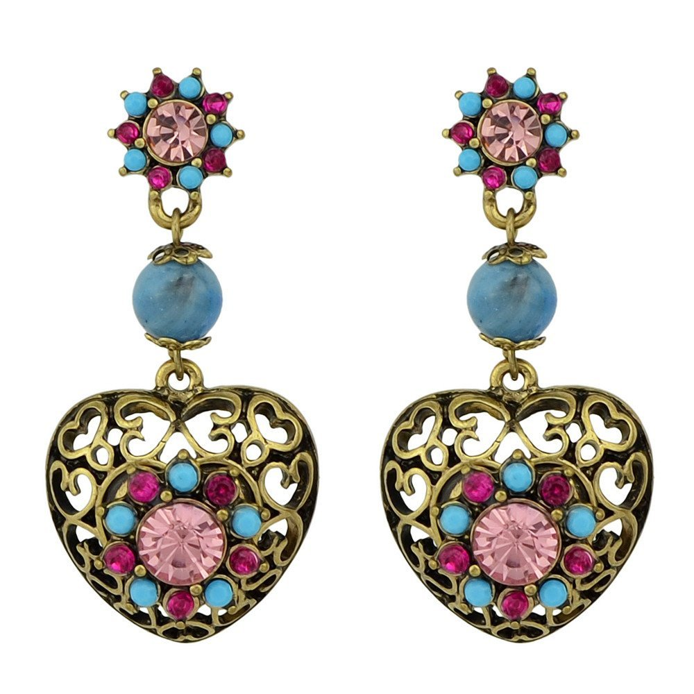Feelontop® Fashion Vintage Style Colorful Stone Heart Shape Drop Earrings with Jewelry Pouch ER-6021