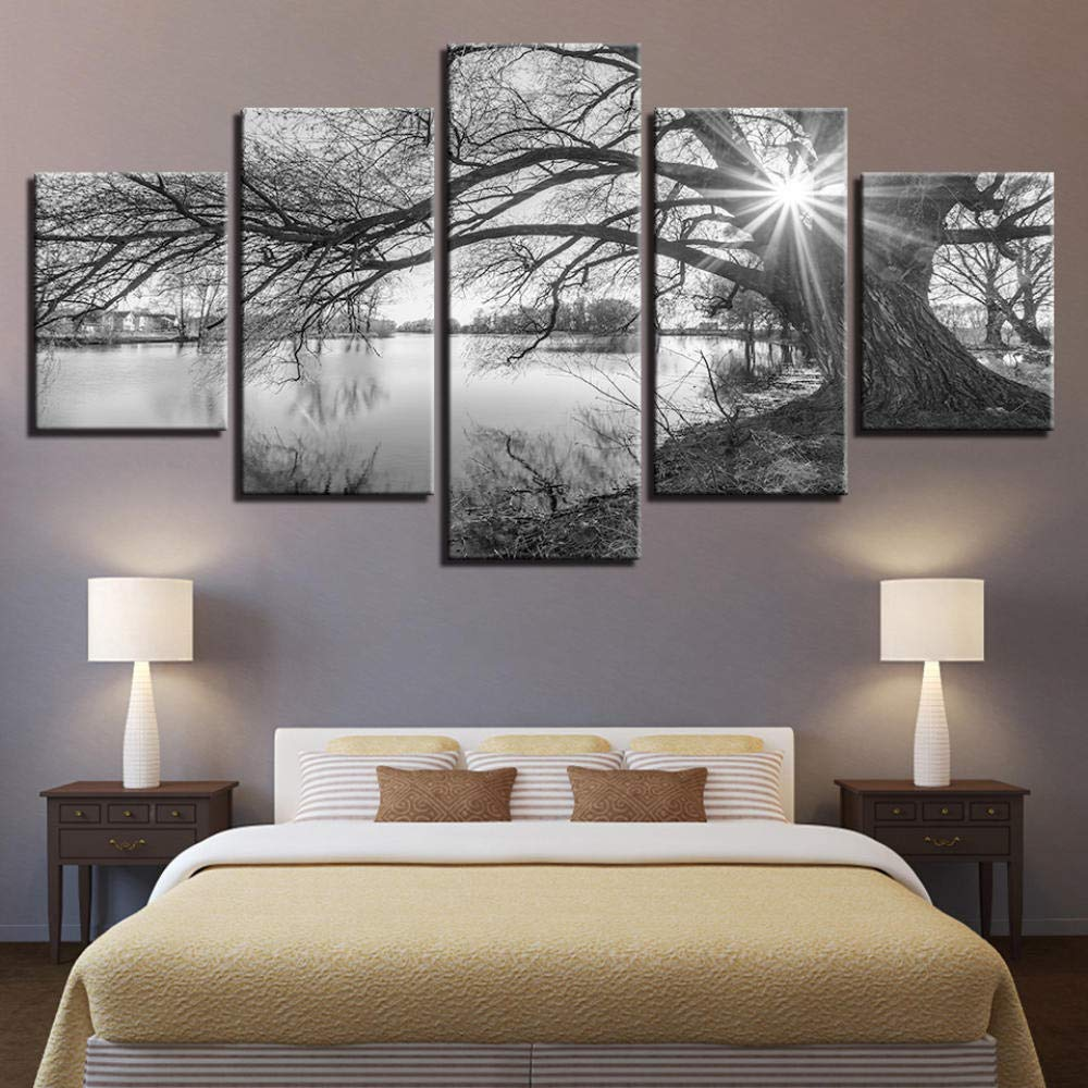 5 pz 200 x 100 cm Stampa su Tela Canvas Albero sul Lago Quadro su Tela Arredo per Soggiorno Salotto Camera da Letto Cucina Ufficio Bar Ristorante Senza Telaio