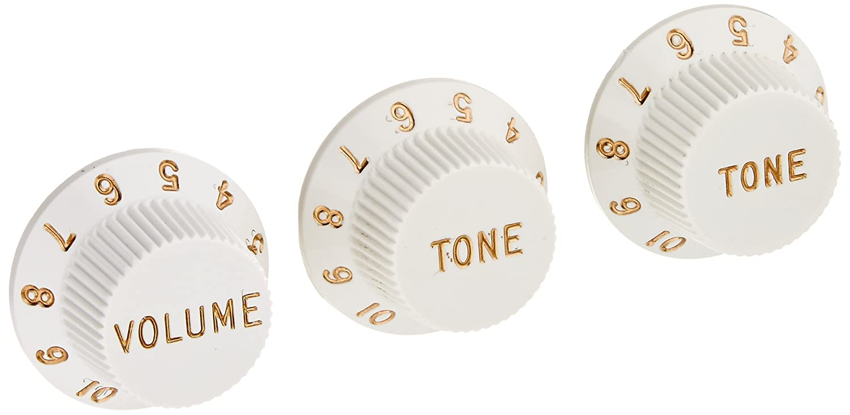 Fender Strat Knobs One Volume, Two Tone, White White 0992035000