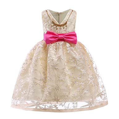 2a182c8a3775 Girls Dress,Zerototens Toddler Kids Clothes Floral Baby Girl Lace Bowknot  Princess Dress Bridesmaid Pageant Gown Birthday Party Wedding Dress 1-7  Years Old: ...