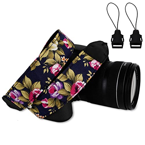 Eggsnow SLR/DSLR Camera Strap Shoulder Neck Strap Belt-Flower Purple