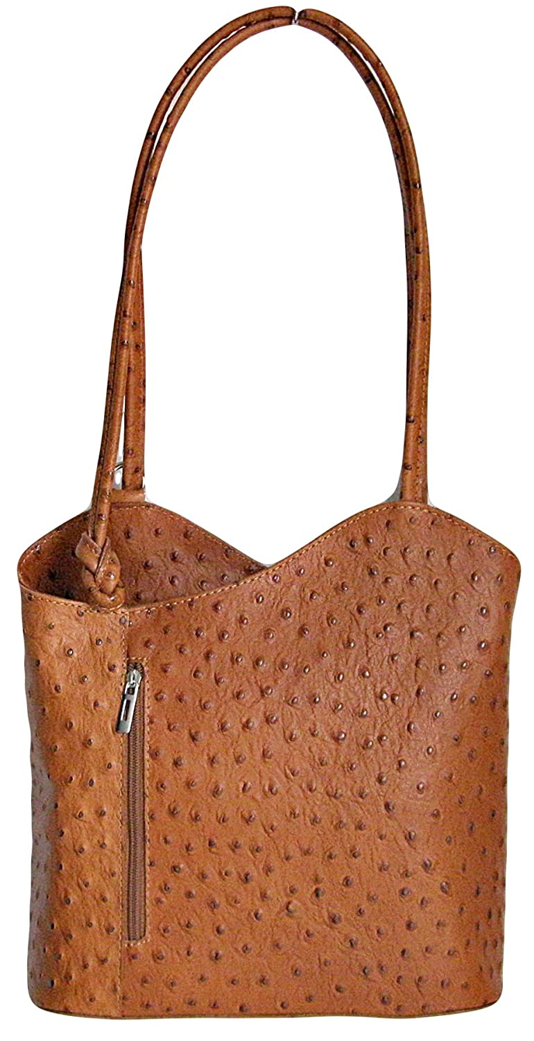 d074ae283d Handbag Bliss Italian Leather Ostrich Print Shoulder Bag Handbag Backpack  Rucksack (Tan)  Amazon.co.uk  Clothing