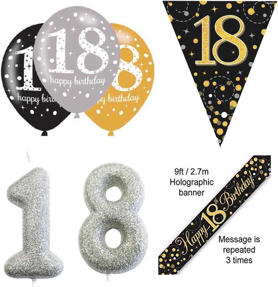 Sparkling Fizz Black /& Gold 18th Birthday Banner