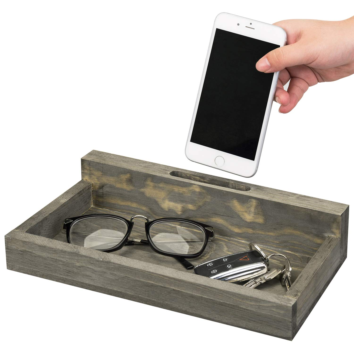 MyGift Rustic Grey Wood Smartphone Charging Station with Valet Tray by MyGift