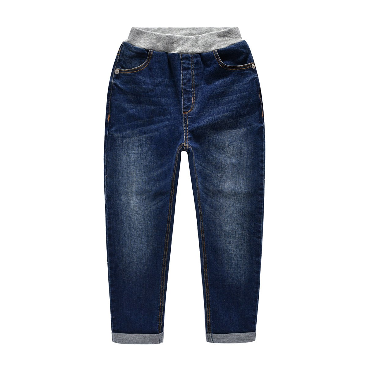 NABER Kids Boys' Casual Elastic Waist Denim Pants Blue Washed Jeans Age 4-13 Yrs