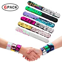 Rocita Slap Braccialetti Sequin Braccialetto Reversibile Mermaid Wristband per Festa e Festival (6 Packs)