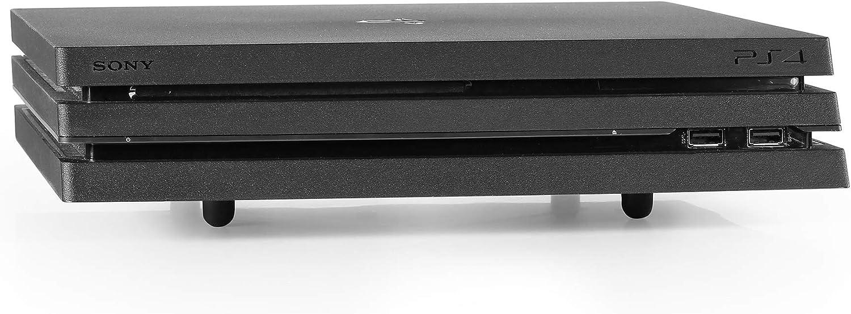 Base Consolas PlayStation y Xbox - Soporte Horizontal de Hierro para PS4, Slim y Pro, PS3, Xbox One X, Xbox One S, Xbox 360 - Incluye Cable de Carga para Mandos - Color Negro