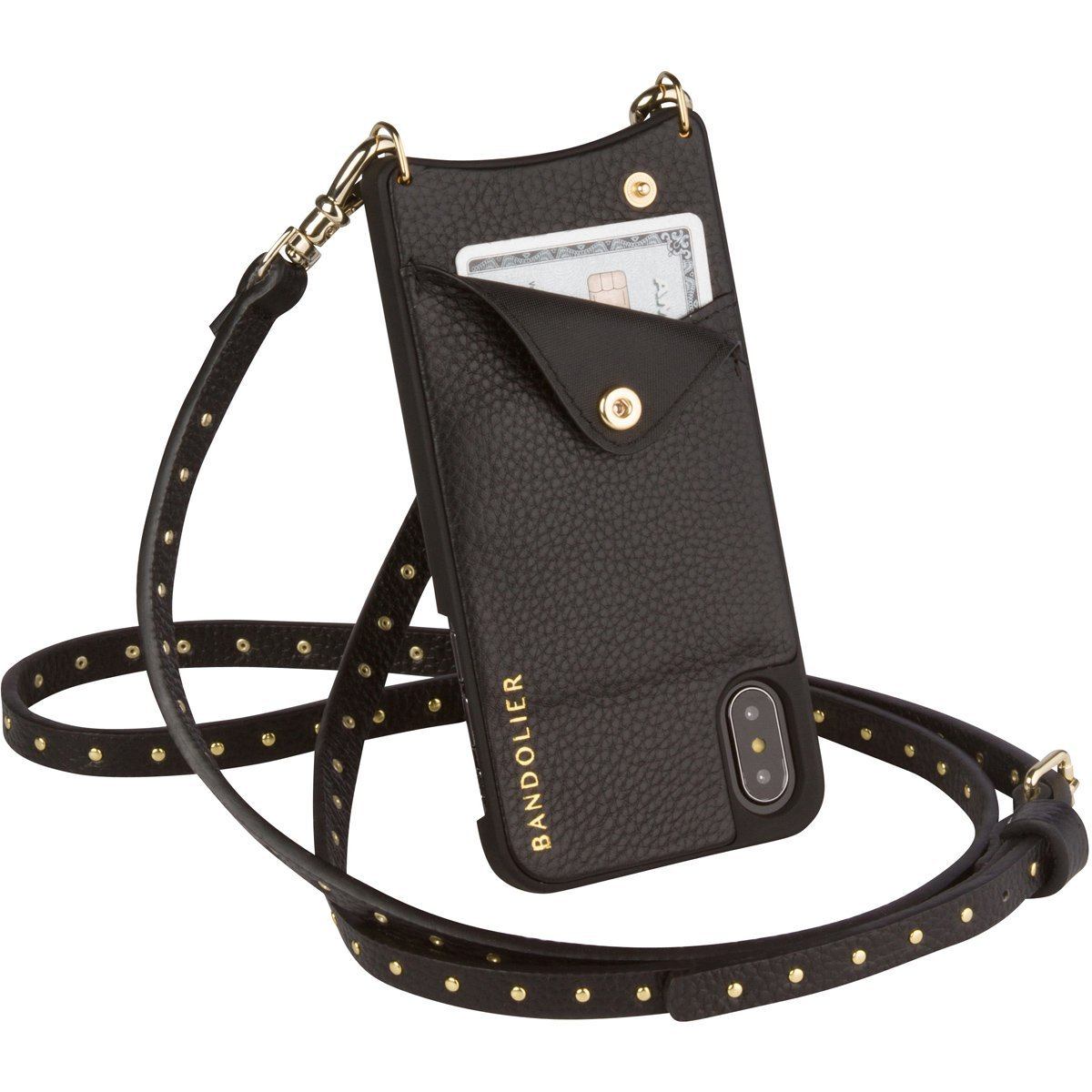 Bandolier [Nicole] Crossbody Phone Case and Wallet - Compatible with iPhone X & XS - Black Leather with Gold Accent