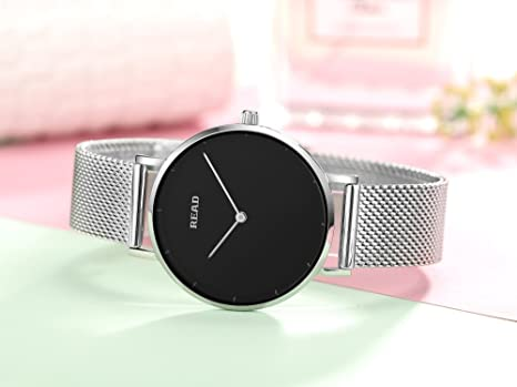 Amazon.com: READ New Women Quartz Watches with Mesh Steel Band Waterproof Wristwatch Best for her R6005 (Silver Black): Health & Personal Care