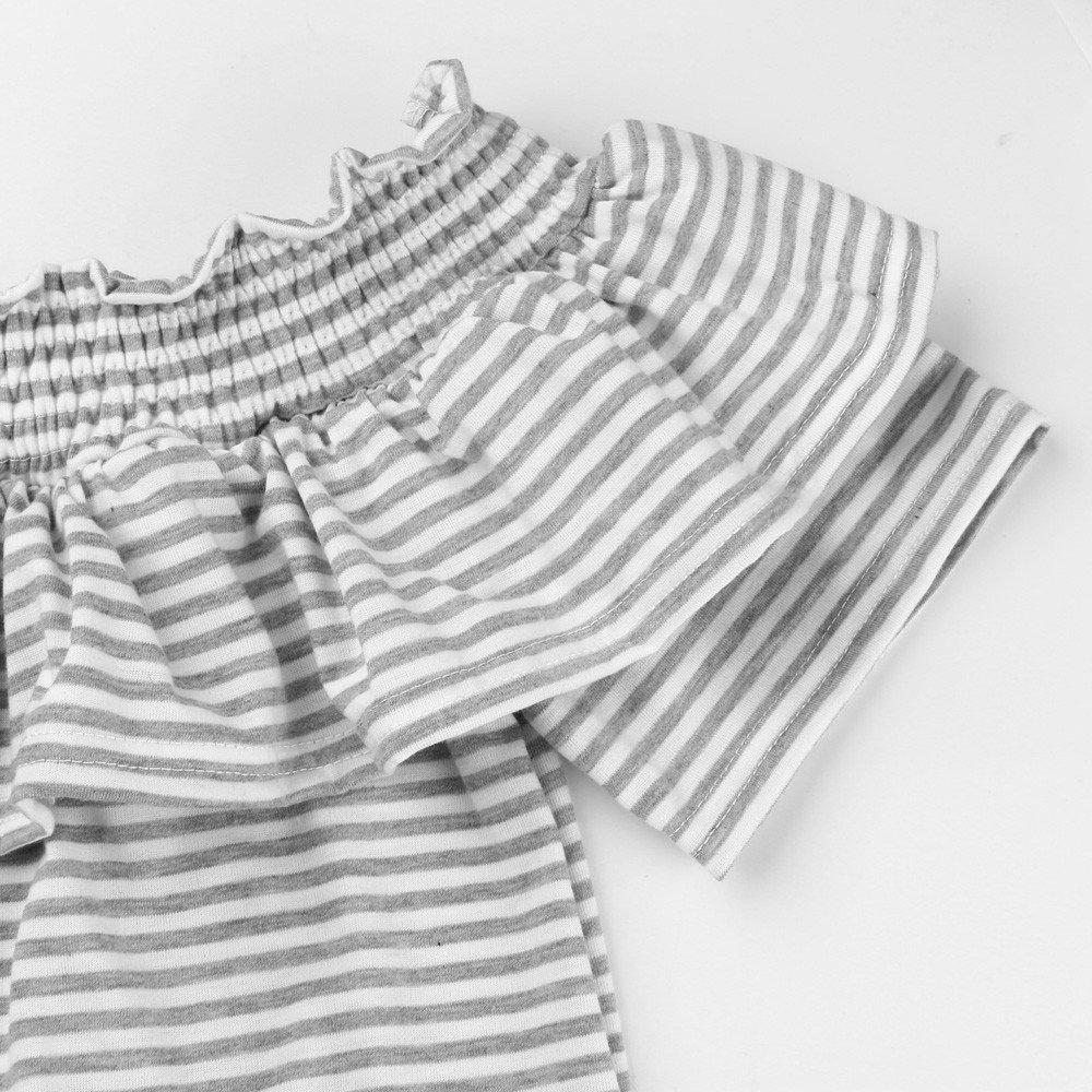 Blusa Manga Corto Mujer, Camisas Ajustados Con Volantes Hombros Descubiertos A Rayas (Gris, X-Large): Amazon.es: Ropa y accesorios