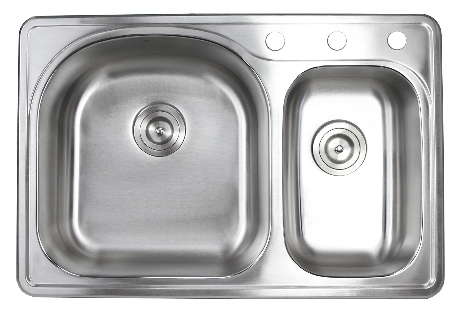 33 Inch Top-mount/Drop-in Stainless Steel 70/30 Double Bowl Kitchen Sink With 3 Faucet Holes - 18 Gauge by CBath