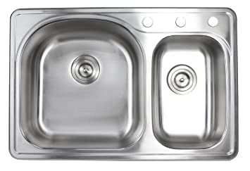 33 Inch Top Mountdrop In Stainless Steel 7030 Double Bowl Kitchen