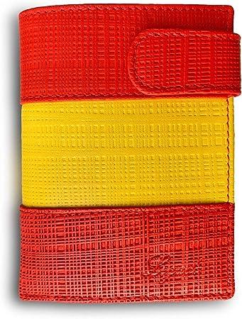 Cartera Hombre Piel Bandera Legado con Monedero para Monedas, Billetera Capacidad Varios Billetes Fabricado en España, de Cuero Regalo de Pulsera de España y Tarjeta de Protección RFID.: Amazon.es: Equipaje