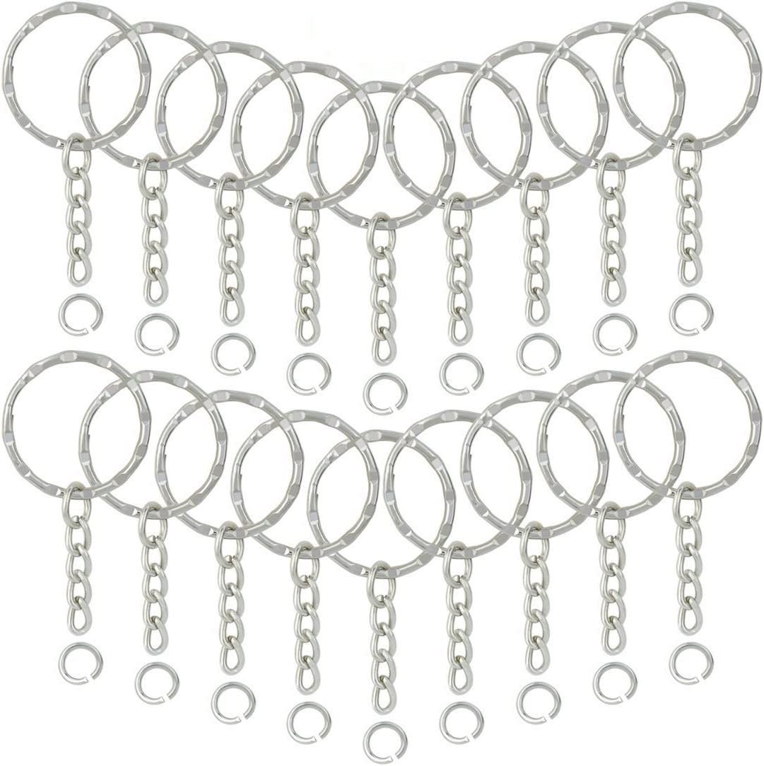 25mm Split Ring with Chain and Eye Screw Pin Keyring Findings Clasp Connector