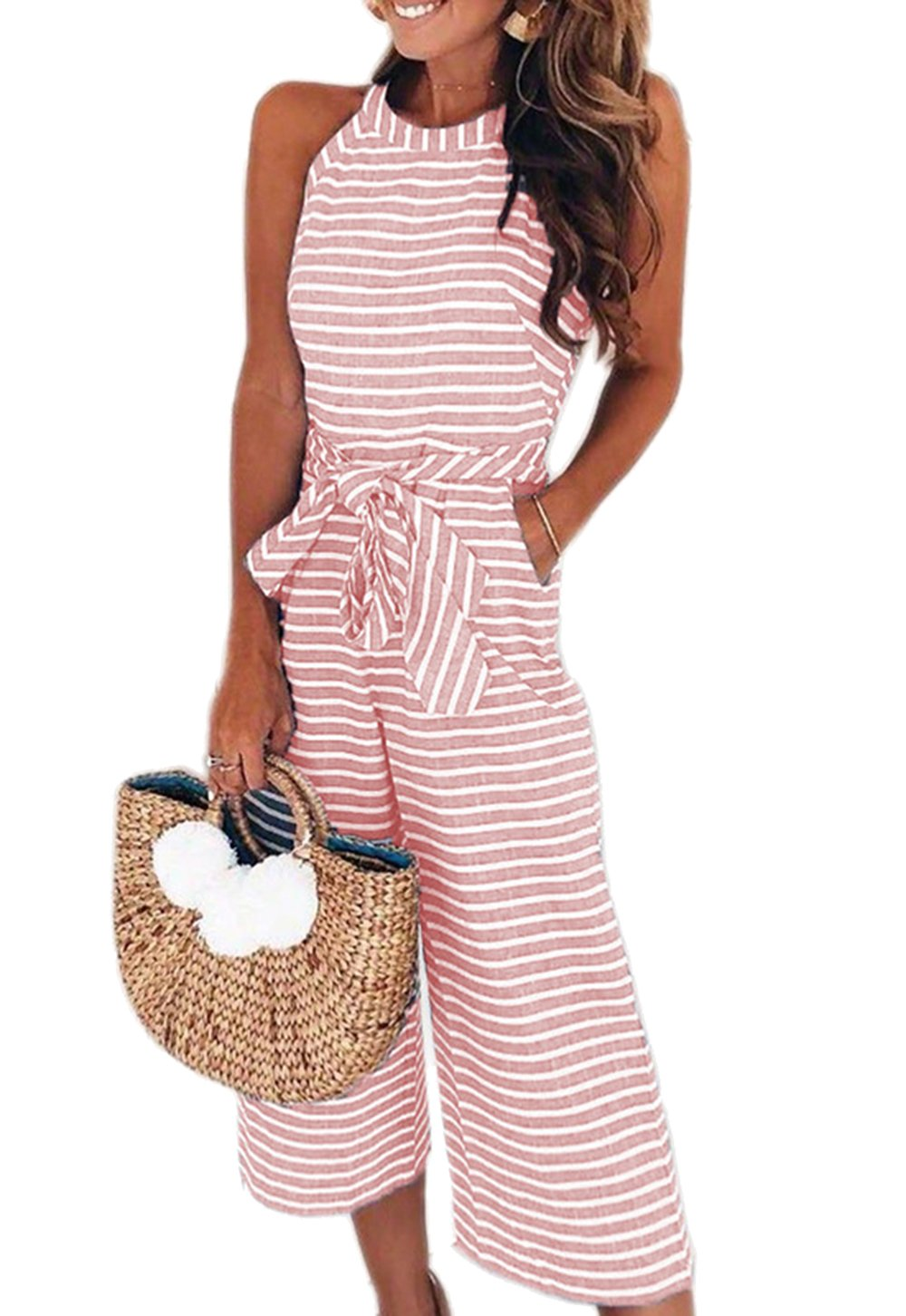 PRETTYGARDEN 2018 Women's Striped Sleeveless Waist Belted Zipper Back Wide Leg Loose Jumpsuit Romper with Pockets (Pink, X-Large)