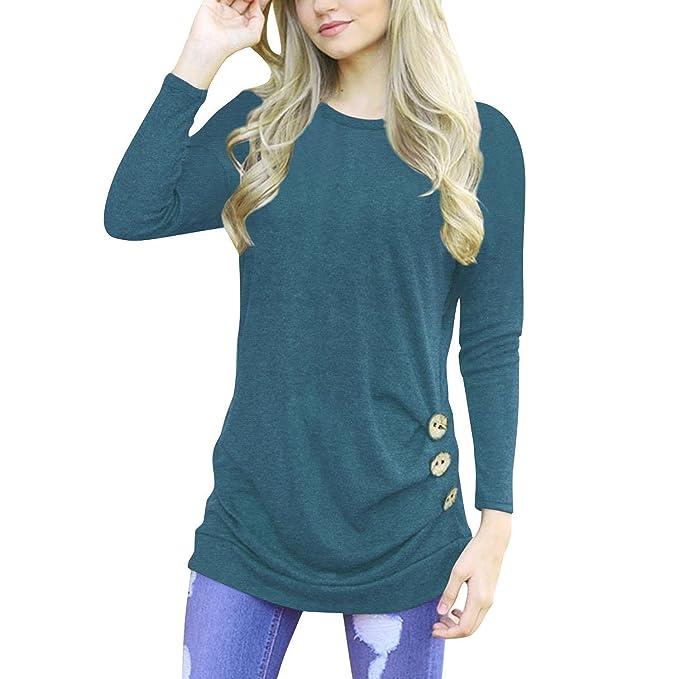 Elegante Color Sólido Camiseta Mujer Manga Larga Blusa con Botones Decorados Moda Cuello Redondo Camisa Blusa Tops para Primavera y Otoño Tallas Grandes: ...